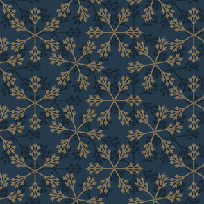 snowflakes blue gold