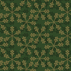 snowflakes green gold