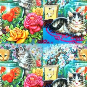cats kittens pussy gold fishes tank bowl roses flowers bonsai leaves plants swallow birds