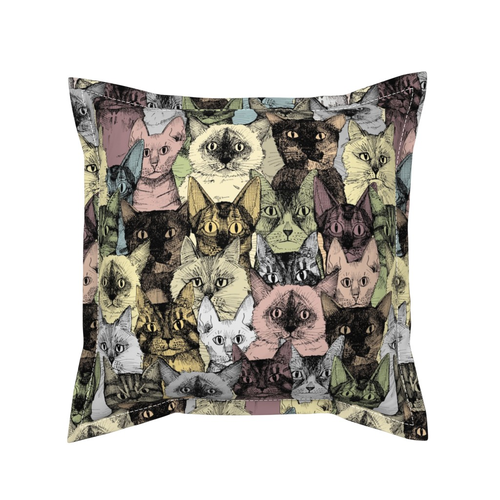 Serama Throw Pillow featuring just cats retro by scrummy