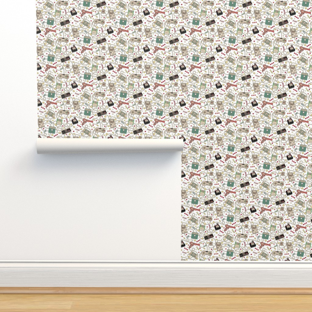 Isobar Durable Wallpaper featuring Favourite Game Retro White just over half scale 7 x 14 in by teja_jamilla