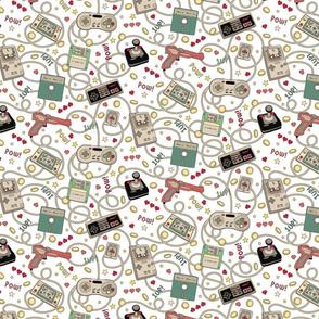 Favourite Game Retro White just over half scale 7 x 14 in