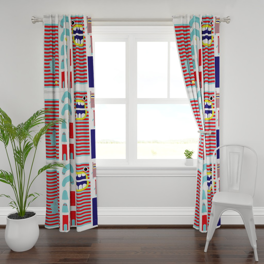 Plymouth Curtain Panel featuring Hungry Monster Laundry Bag: Red/Turquoise by sammyk