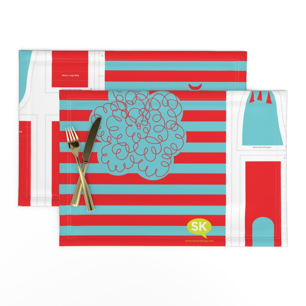Lamona Cloth Placemats featuring Hungry Monster Laundry Bag: Red/Turquoise by sammyk
