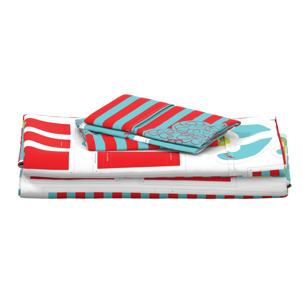 Langshan Full Bed Set featuring Hungry Monster Laundry Bag: Red/Turquoise by sammyk
