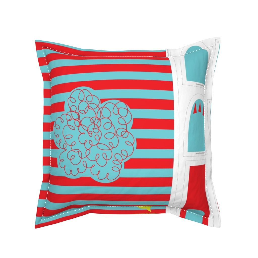 Serama Throw Pillow featuring Hungry Monster Laundry Bag: Red/Turquoise by sammyk