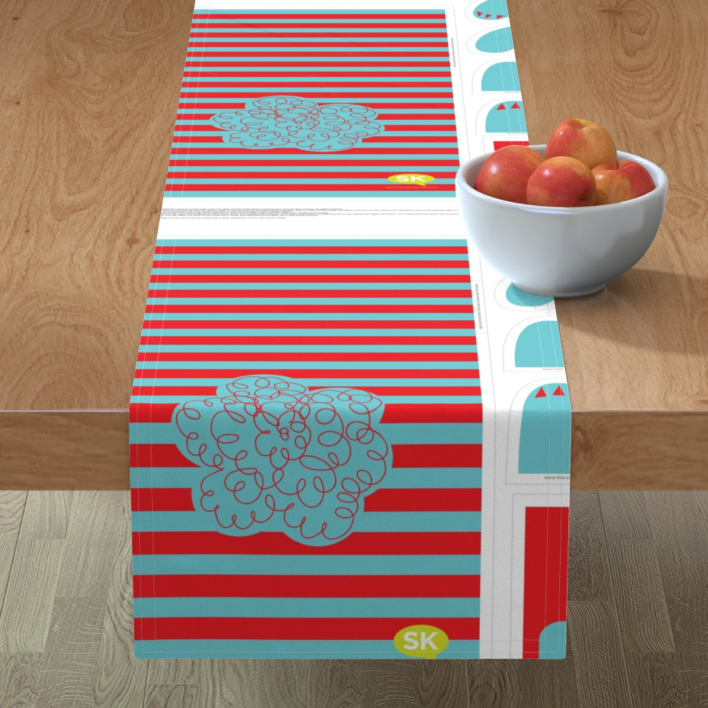 Minorca Table Runner featuring Hungry Monster Laundry Bag: Red/Turquoise by sammyk