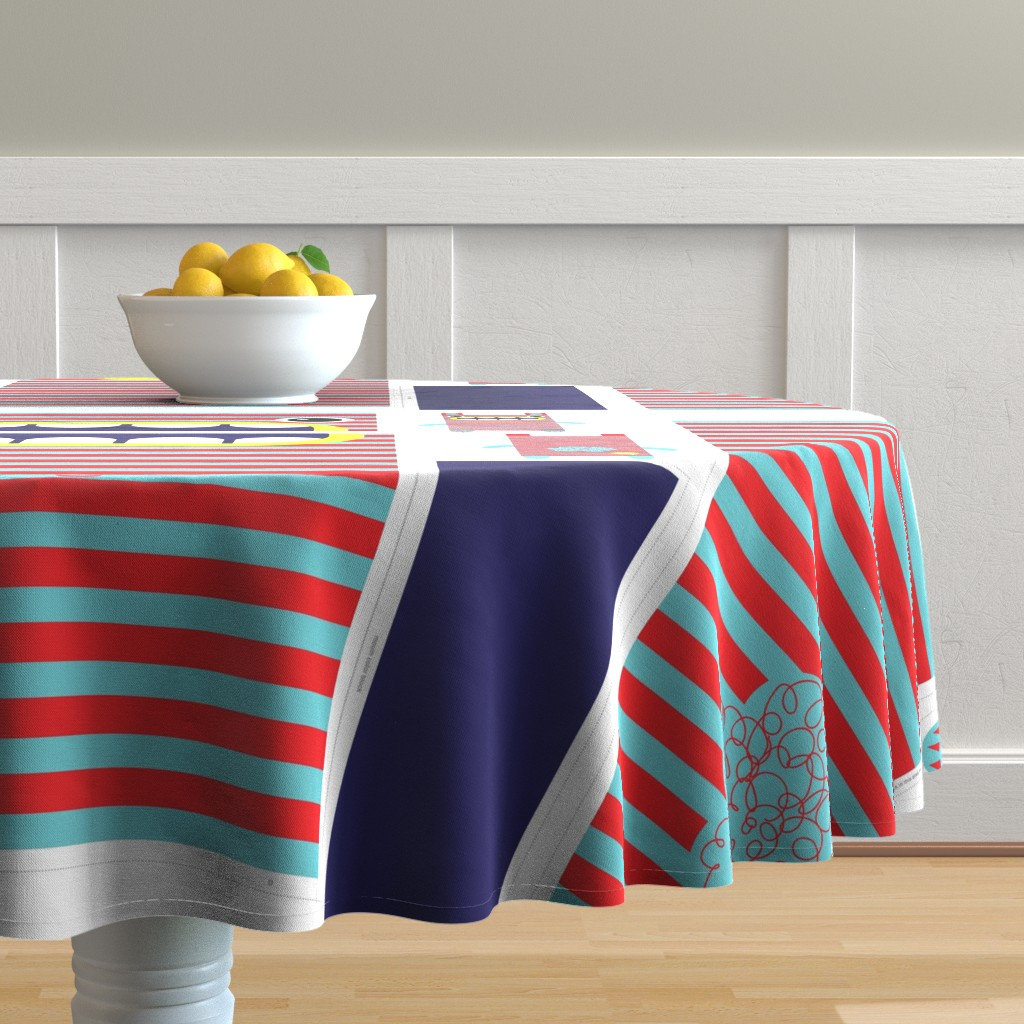 Malay Round Tablecloth featuring Hungry Monster Laundry Bag: Red/Turquoise by sammyk