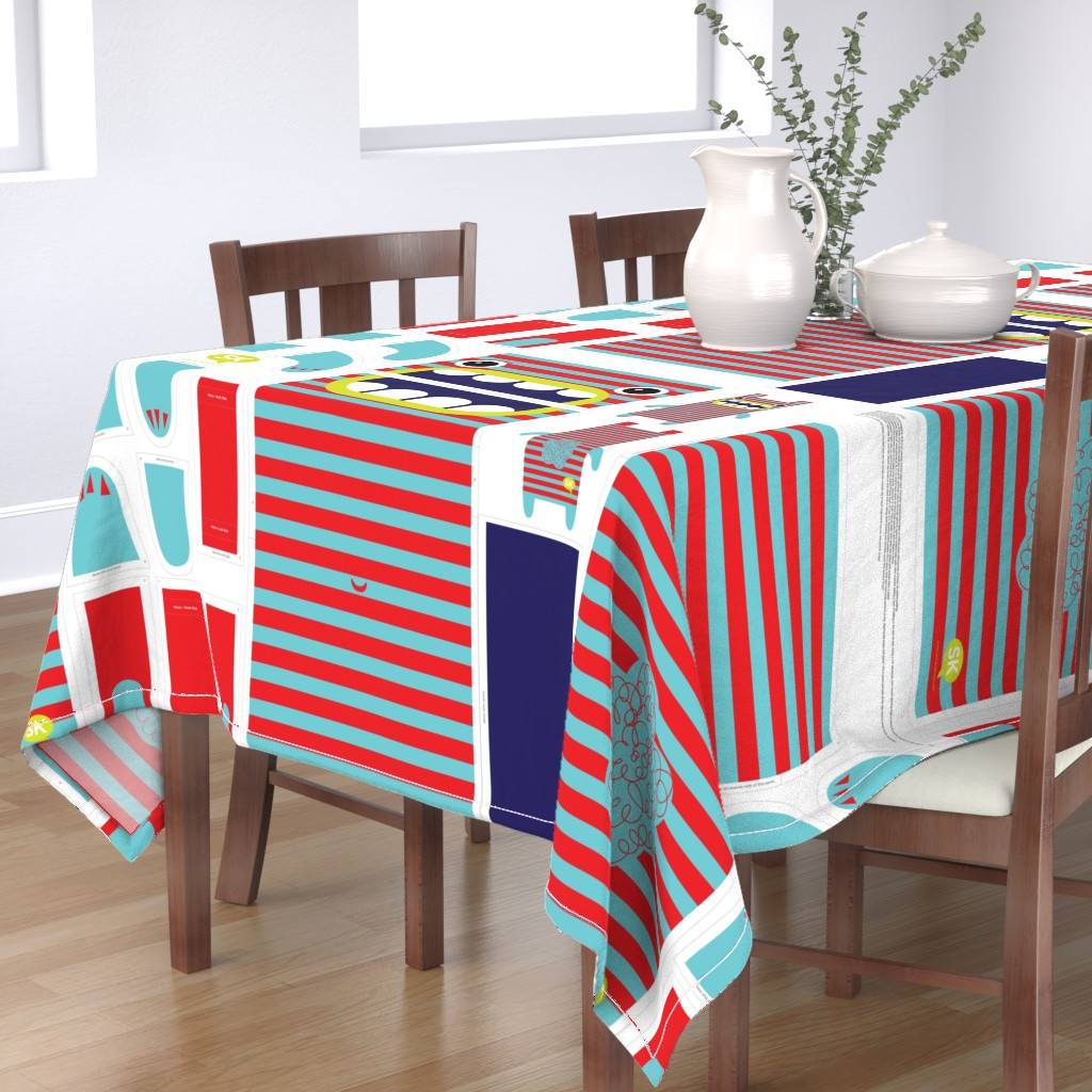 Bantam Rectangular Tablecloth featuring Hungry Monster Laundry Bag: Red/Turquoise by sammyk