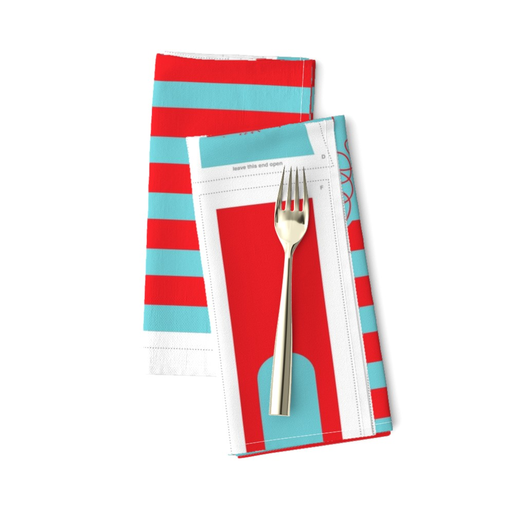 Amarela Dinner Napkins featuring Hungry Monster Laundry Bag: Red/Turquoise by sammyk