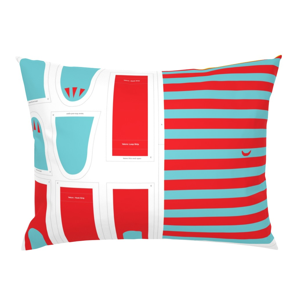 Campine Pillow Sham featuring Hungry Monster Laundry Bag: Red/Turquoise by sammyk