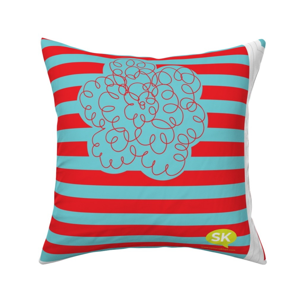 Catalan Throw Pillow featuring Hungry Monster Laundry Bag: Red/Turquoise by sammyk