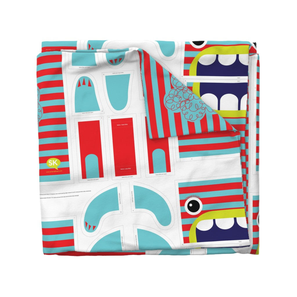 Wyandotte Duvet Cover featuring Hungry Monster Laundry Bag: Red/Turquoise by sammyk