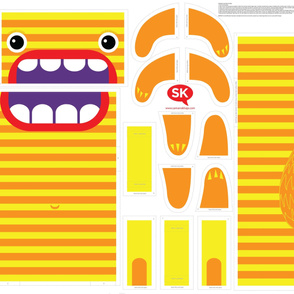 Hungry Monster Laundry Bag: Orange/Yellow