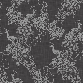 PEACOCKS + ROSES - charcoal chinoiserie