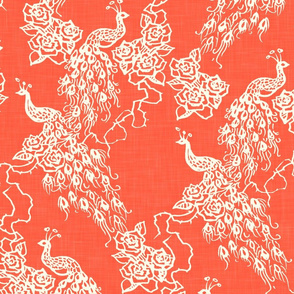 PEACOCKS + ROSES - coral chinoiserie