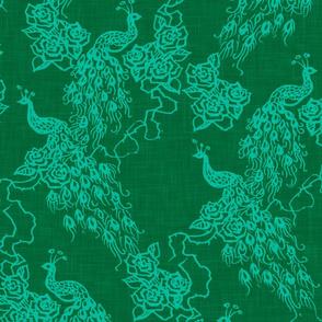 PEACOCKS + ROSES - emerald