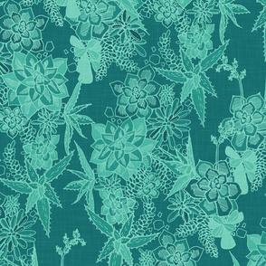 SUCCULENT- agave / teal linen