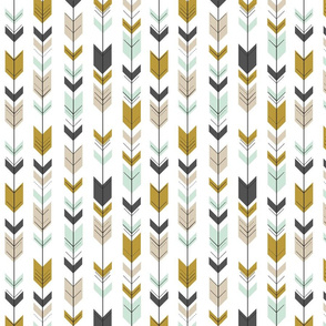 Fletching Arrows (small scale) // Woodland Collection - Mint/Charcoal/Gold