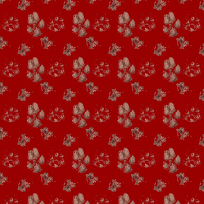 Muddy paw prints - crimson