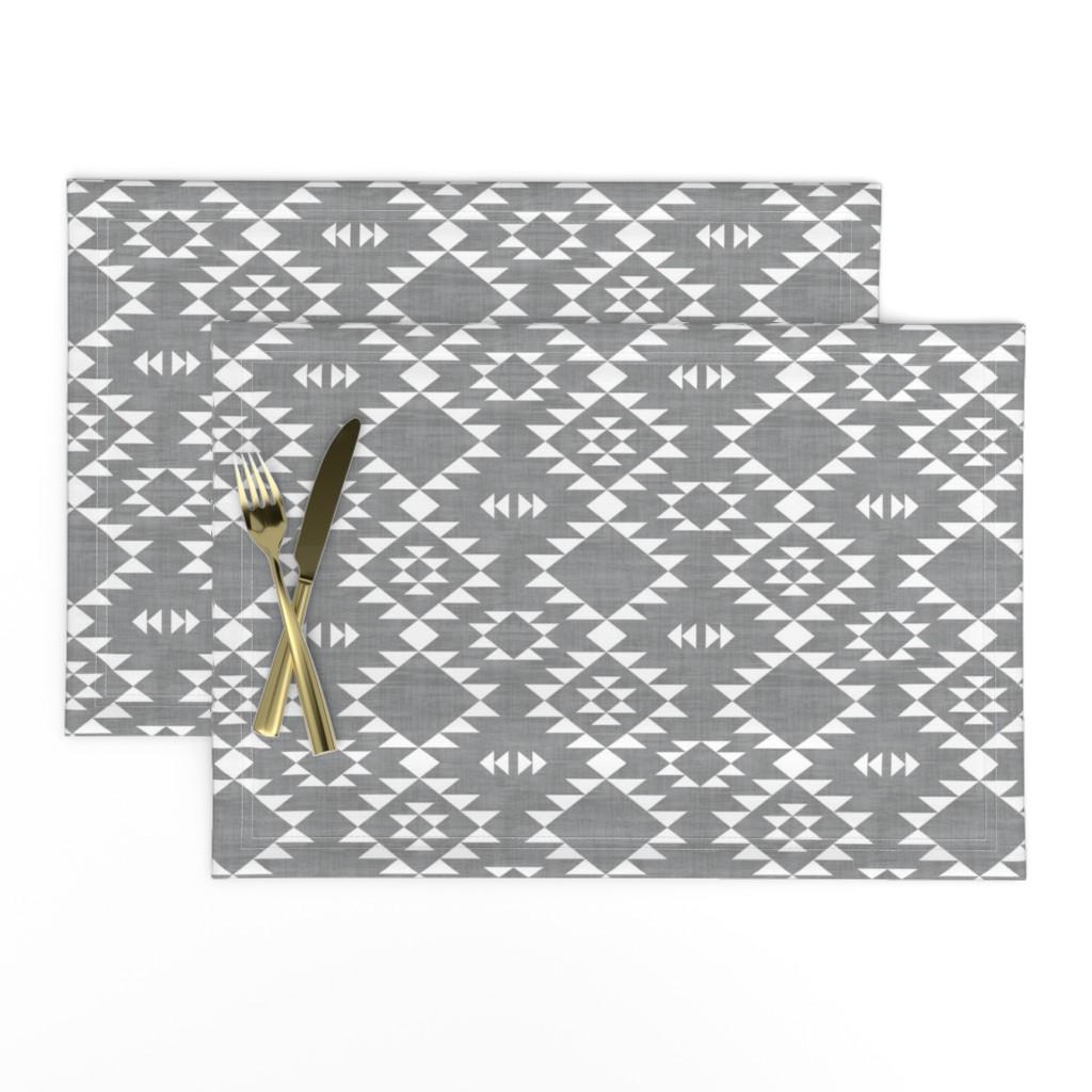 Lamona Cloth Placemats featuring Navajo - Texture Gray White by kimsa