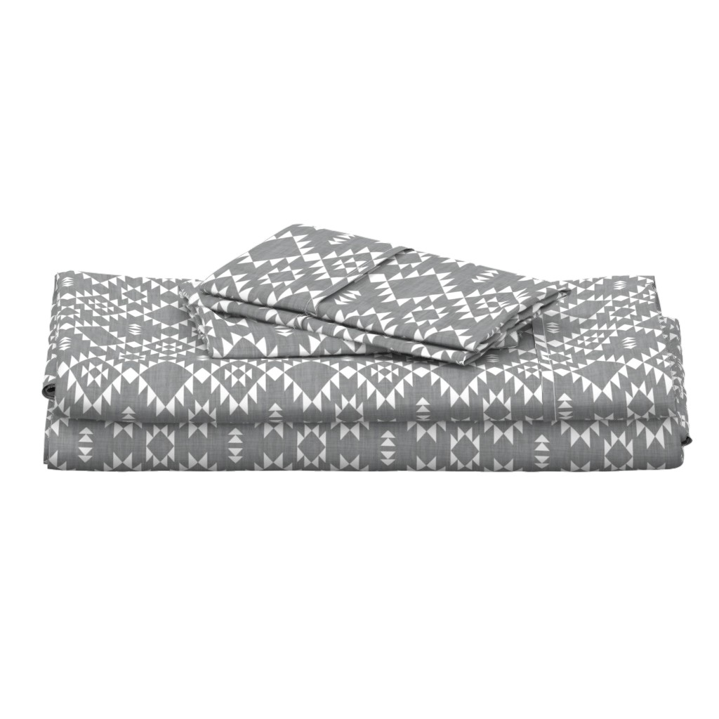 Langshan Full Bed Set featuring Navajo - Texture Gray White by kimsa