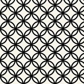 Fretwork geometric circles, black + off-white by Su_G_©Su Schaefer