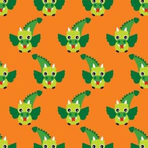 Cute little dragon fantasy dinosaur kids illustration in orange and green