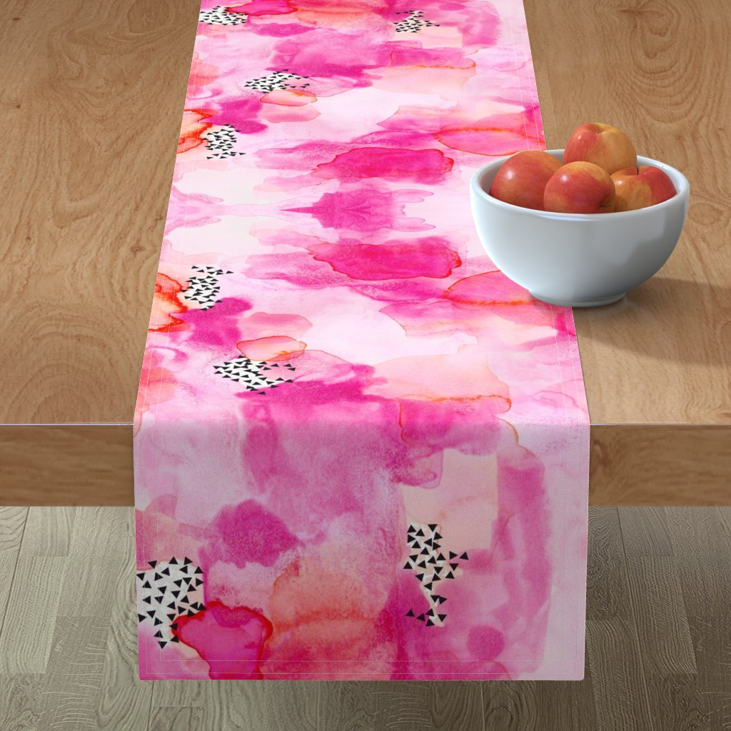 Minorca Table Runner featuring hand-painted watercolor abstract // pink + coral by ivieclothco