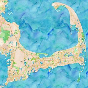 Cape Cod watercolor map design