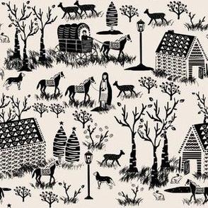 Folk Town Toile