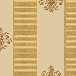 gold and champagne fleur de lis 2 inch stripe