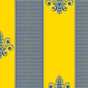 french provence fleur de lis 2 inch stripe