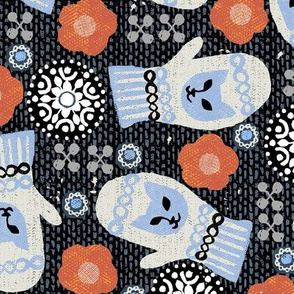 blue cat-mittens, winter, snowflakes