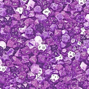 a sea of purple dice