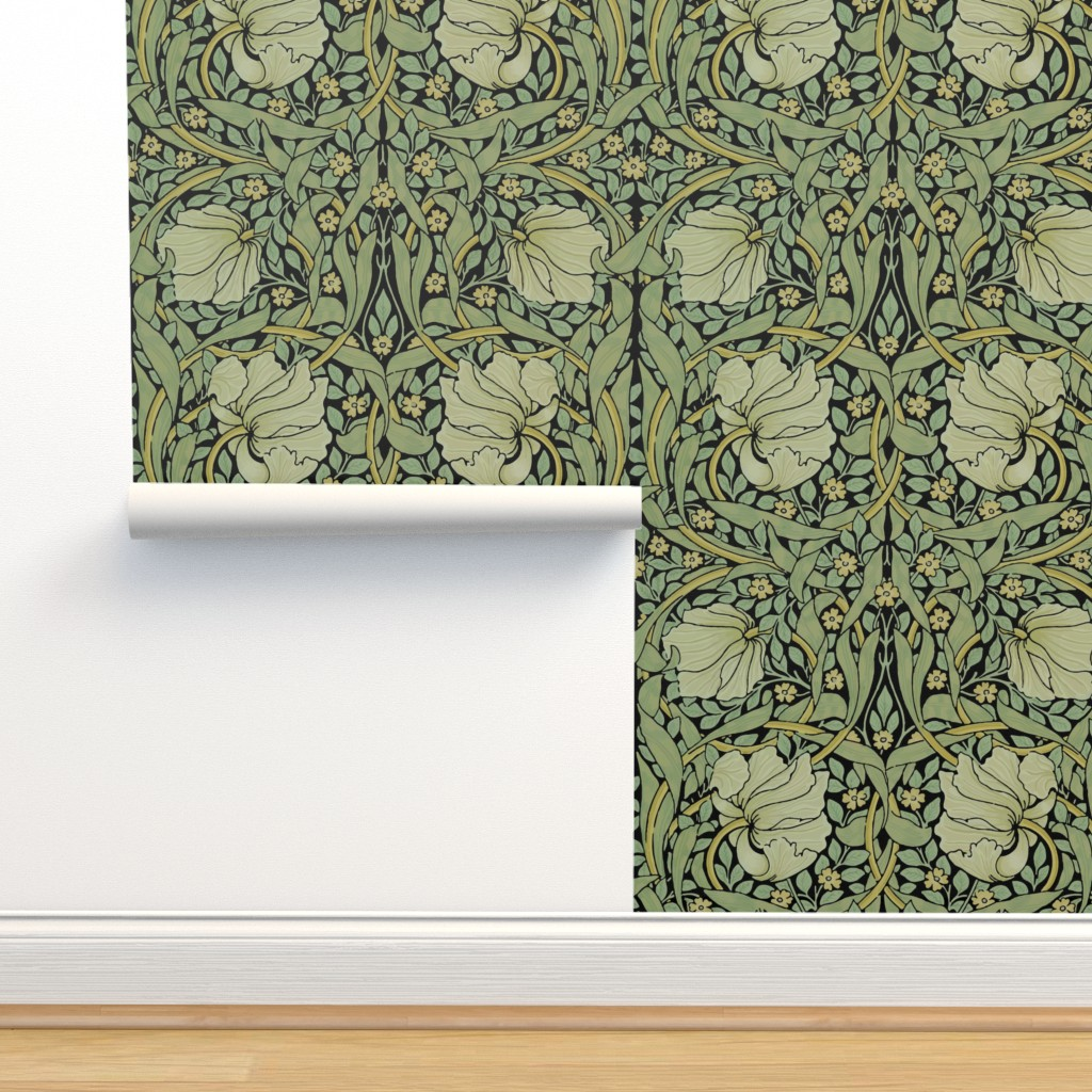 Isobar Durable Wallpaper featuring William Morris ~ Pimpernel ~ Original on Black by peacoquettedesigns