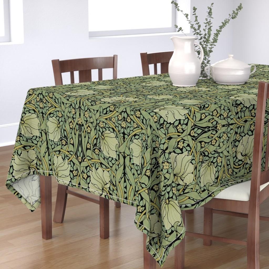 Bantam Rectangular Tablecloth featuring William Morris ~ Pimpernel ~ Original on Black by peacoquettedesigns