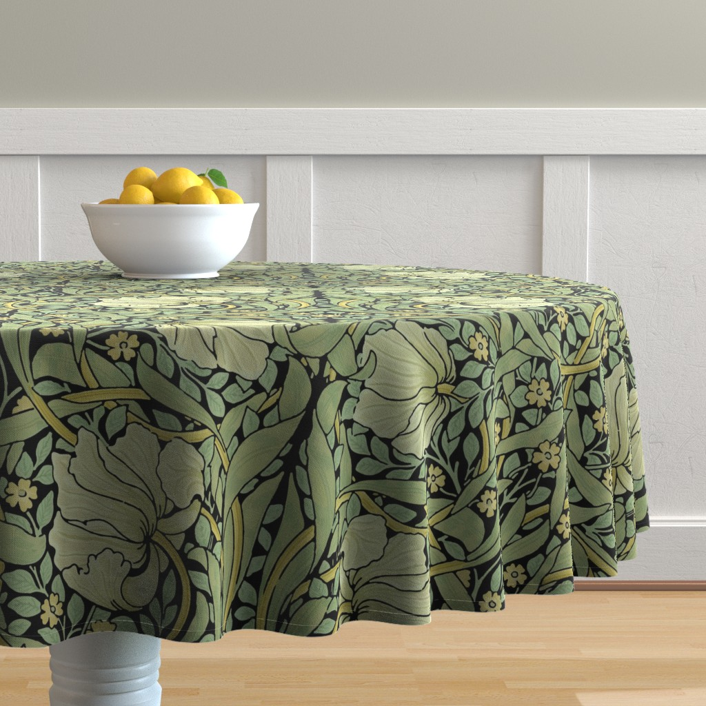 Malay Round Tablecloth featuring William Morris ~ Pimpernel ~ Original on Black by peacoquettedesigns