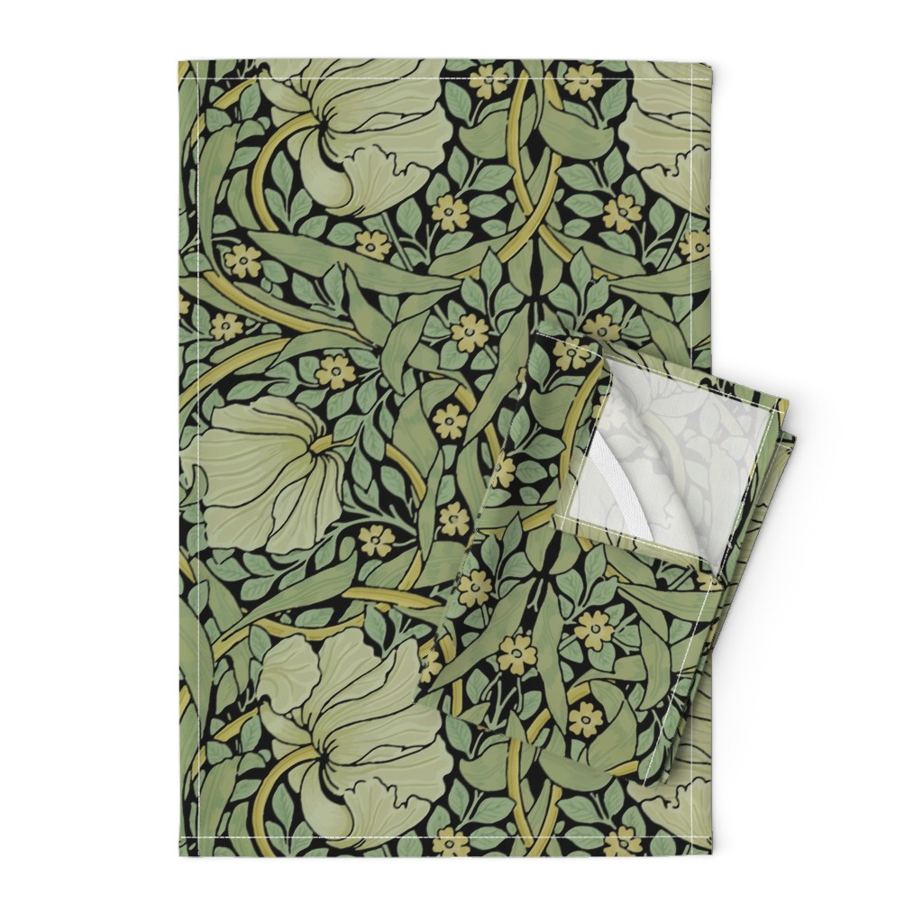 Orpington Tea Towels featuring William Morris ~ Pimpernel ~ Original on Black by peacoquettedesigns