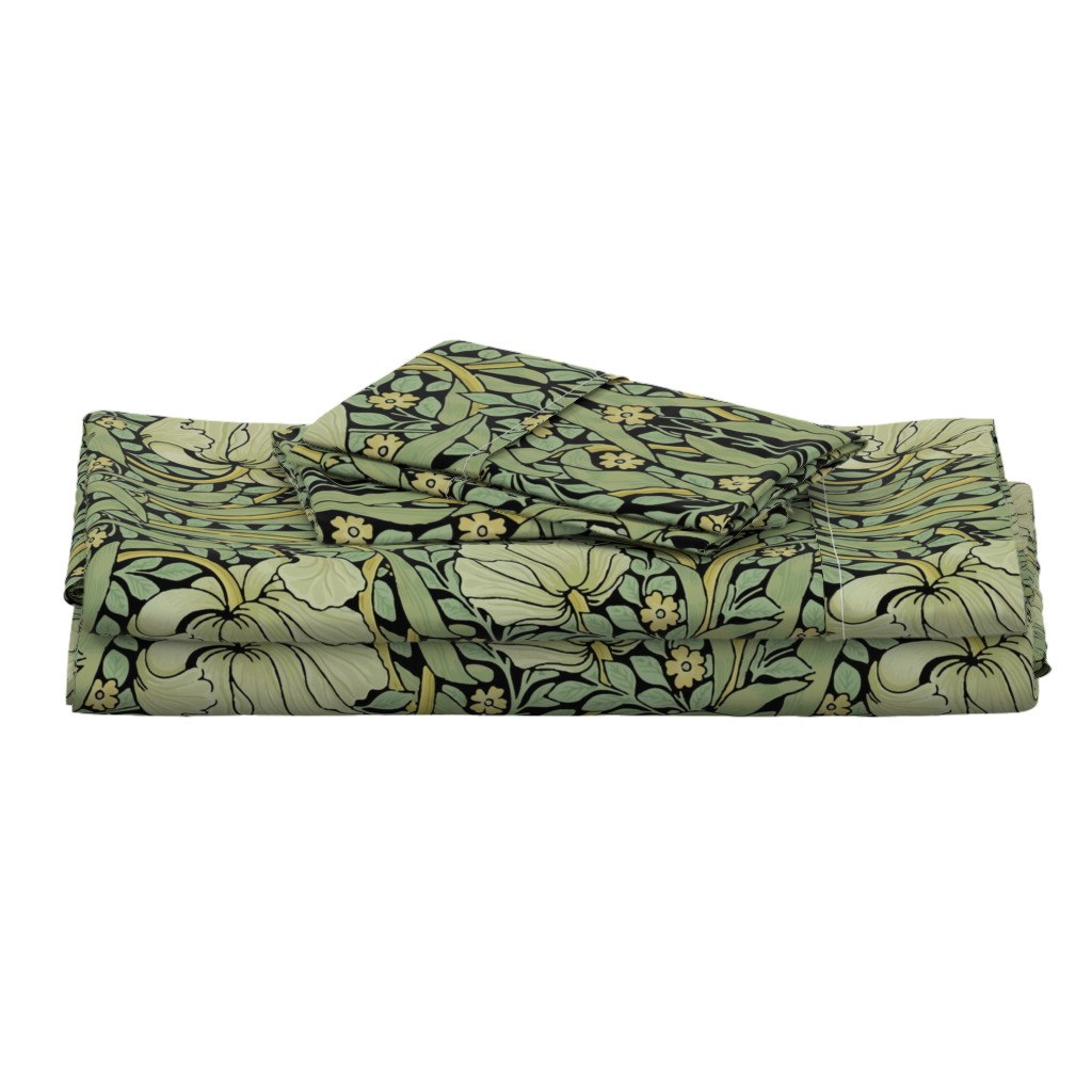 Langshan Full Bed Set featuring William Morris ~ Pimpernel ~ Original on Black by peacoquettedesigns