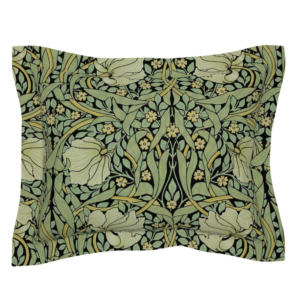 Sebright Pillow Sham featuring William Morris ~ Pimpernel ~ Original on Black by peacoquettedesigns