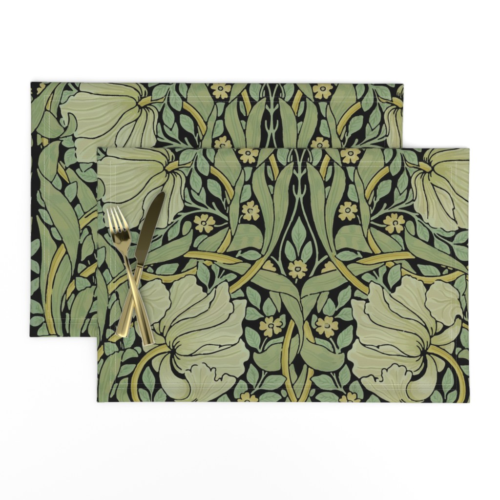 Lamona Cloth Placemats featuring William Morris ~ Pimpernel ~ Original on Black by peacoquettedesigns