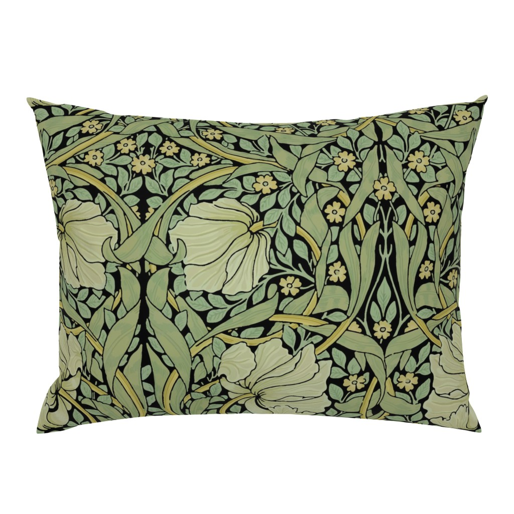 Campine Pillow Sham featuring William Morris ~ Pimpernel ~ Original on Black by peacoquettedesigns