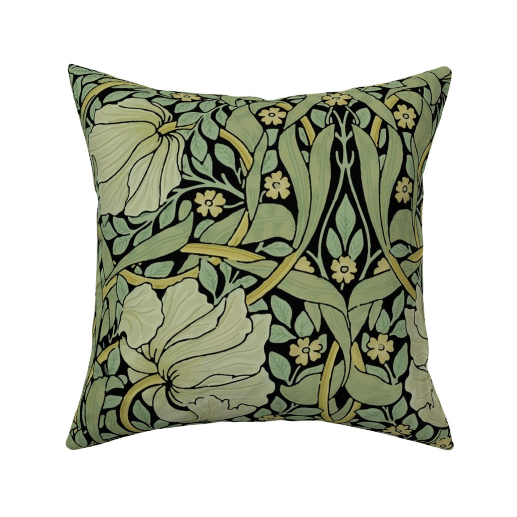 Catalan Throw Pillow featuring William Morris ~ Pimpernel ~ Original on Black by peacoquettedesigns