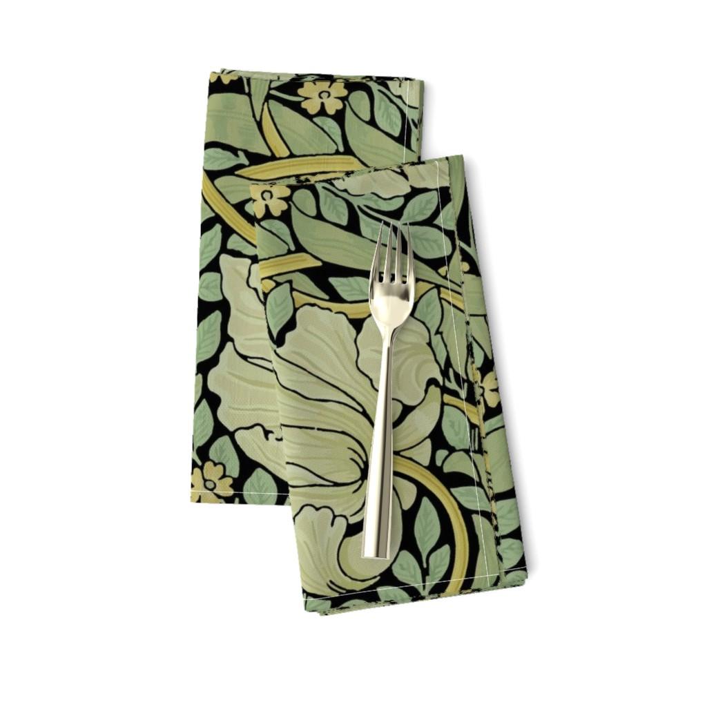 Amarela Dinner Napkins featuring William Morris ~ Pimpernel ~ Original on Black by peacoquettedesigns