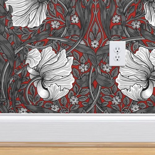 Wallpaper William Morris Pimpernel Black And White On Turkey Red