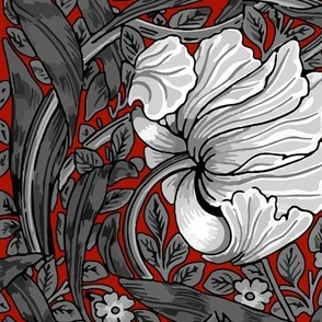 William Morris ~ Pimpernel ~ Black and White on Turkey Red