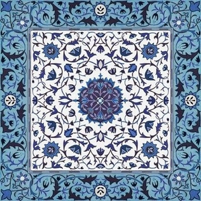William Morris ~ Sunny Rug Tile ~ Blue and White