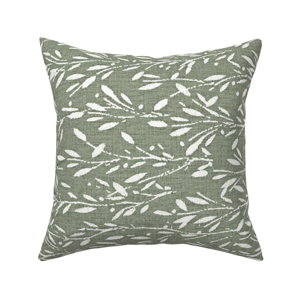 Catalan Throw Pillow featuring Custom - Olive Grove Green rotate by kristopher_k