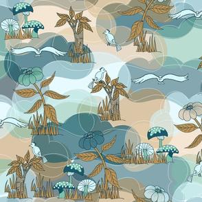 Dinosaur World_Aqua-Browns_